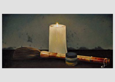 Vela encendida y pincel chino, 2012 Óleo/tabla entelada. 40 x 40 cm.