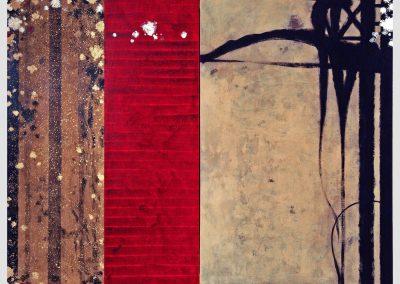 Escala roja, 2002- 2003 Técnica mixta/lienzo. 146 x 194 cm.